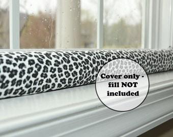 leopard print draught excluder cover, custom length door draft stopper cat dodger, empty wind blocker, black & white decor, window snake