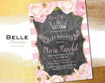 Baby Shower Invitation - Paris Inspired with Gold Glitter Watercolor flowers & Crown - DIY Printable JPG - Pink - White and Pink Stripes