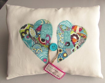Heart Pillow Patchwork Pillow Word Pillow Appliqued Pillow Sweet Heart Pillow Handmade Heart Pillow -Two hearts that beat as one
