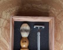 Personalized Double Edge Shaving Kit with Safety Razor, Shaving Brush,  Razor Blades, & Wood Gift Box