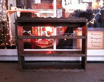 Old Primitive Farmhouse Open 4 Shelf Display Curio With Pie Crust Trim