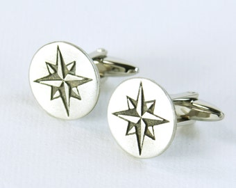Compass Cufflinks.Stainless steel leg.Mens Gift