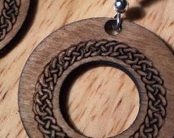 Wooden drop earrings with celtic design