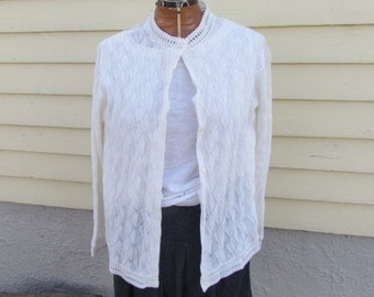 Beautiful White Montgomery Ward Cardigan