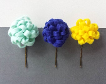 Set of 3  Flower Hair Pins