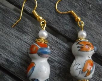 ceramic bead earrings Pássaro
