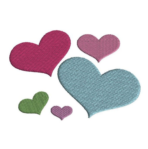 Mini hearts embroidery design instant download sizes
