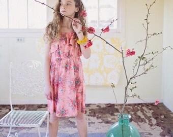 Flower 70's Dress/pink Dress/Girls Dress/Ruffle Dress/Vintage