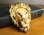 Vintage Luke Razza Lion Head Necklace, Large Lion Pendant, Gold Lion Head, Book Piece