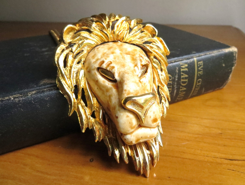 Vintage Luke Razza Lion Head Necklace Large By