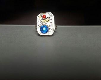 Swarovski watch ring Red white and blue 'Merica America patriotic