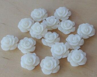 Resin Cabochons ,Cream Resin Rose 11mm