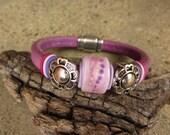 Yummy Plum  Lampwork Glass Focal Bead Leather Regaliz Bracelet