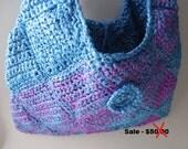 Purse - Crochet Bag Purse - Plastic Bag Crochet - Reduced - Clearance -Shoulder bag - Blue and Purple - Handmade Crochet - Ready to Ship
