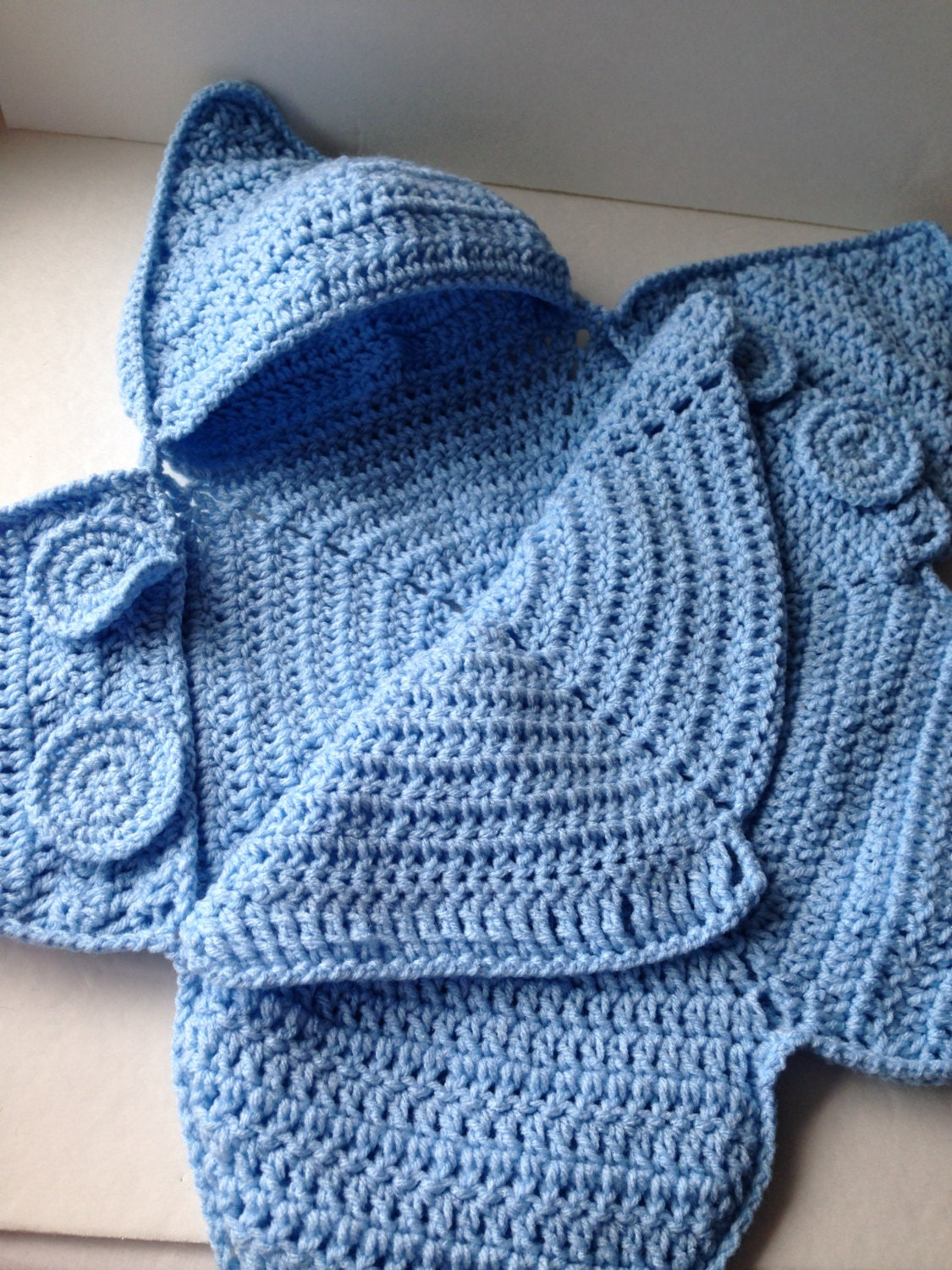 Crochet Baby Bunting Patterns Free : Blue Baby Bunting Bag Blue Star Bunting Handmade Crochet