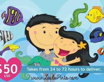 Customizable Digital Illustration Cute Fish Lovers Background