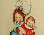 CHILDREN POSTCARD - little girl, crying baby, big white bow, get well postcard, postcards post cards, miss you cards, paper emhemera