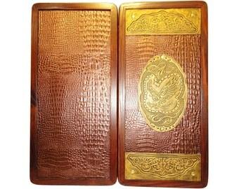 Handmade Carved Wooden Backgammon Board Game Set Golden Eagle