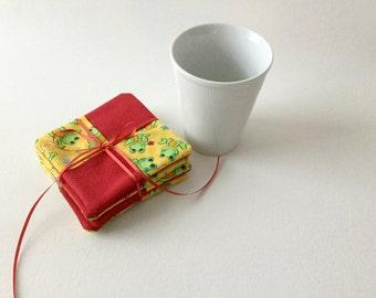 Frog Coaster Set, Fabric Coaster Set, Comical Frogs, Red Coasters, Green Coasters, Frog Mug Rugs, Mug Rug Set