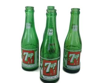 Vintage 7 Up Bottles-1950's-Bubble Girl-Swimmer-Green Soda Bottles-Pop Bottles-Set of 4