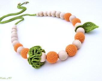 Orange nursing necklace, teething necklace, breastfeeding necklace, natural, wooden beads, cotton, green orange, unisex teething toy, fruits