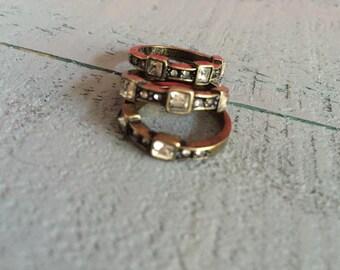 3 Stone Diamond Silver Ring