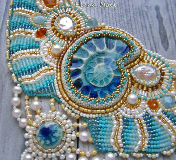 Necklace bead embroidery art tenderness in the