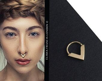 ZARINA   9ct Gold Septum Ring by Elisha Francis   Gold Septum Ring   Gold Nose Ring   Bohemian Septum   Septums   18 Gauge Septum Ring