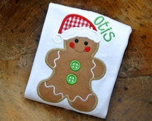 gingerbread man embroidered applique personalized boys shirt, baby bodysuit or gown