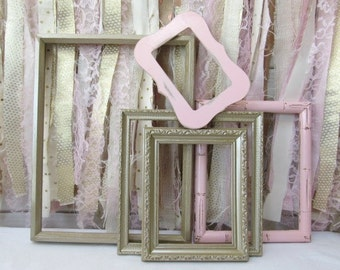 Pink Gold Frame Set Distressed Old Wood Group Baby Girl Nursery Frames Vintage Open Back Large Picture Photo Prop Shabby Chic Wedding