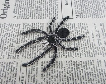 Black Spider Embroidered Applique Iron On Patch