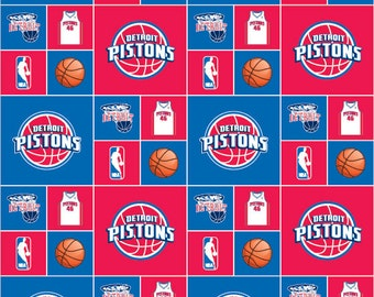 Cotton NBA Detroit Pistons Basketball Sports Team Cotton Fabric Print by the yard spistons020s D665.01