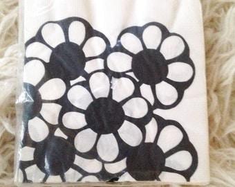 Vintage scandinavian black floral paper napkins cocktail barware bar cart shower party house modern 20 count flower power