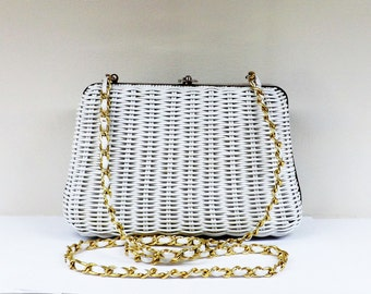 SALE Vintage Laminated White Wicker Handbag Gold Chain Strap