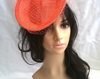 Coral  Sinamay Fascinator pillbox style fascinator  on a Headband