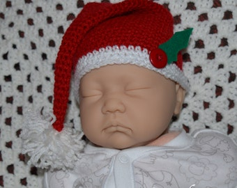 Crochet Santa Christmas hat to fit 0-3 months old, ready to ship