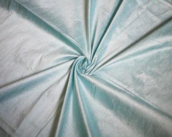 Aqua Blue Dupioni Fabric, Light Turquoise Silk Fabric by the Half Yard