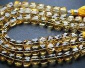 8 Inch Strand, Super Finest-Quality-Natural CITRINE Faceted Box Shape,7-8mm size