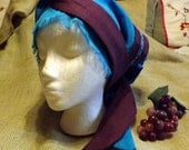 Pacific Blue 100% Linen Long Head Band Scarf with Purple Trim and Matching Ribbon