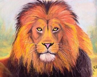 Magestic Lion - Original Painting - 8 x 10 Print