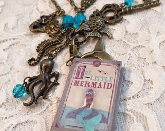 "Vintage Style, Charm Necklace, Miniature Book, Featuring  ""The Little Mermaid"".  The Necklace Is  Antique Bronze Tone."