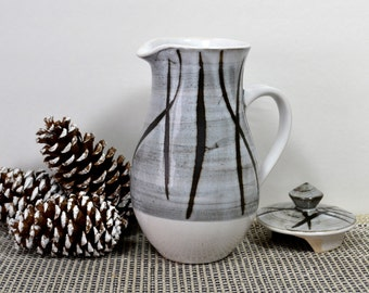 Vintage Briglin Covered Pitcher, Rustic Gray & White w Abstract Brown Lines, 1960s London, English Milk Jug with Lid, Cottage Batter Jug