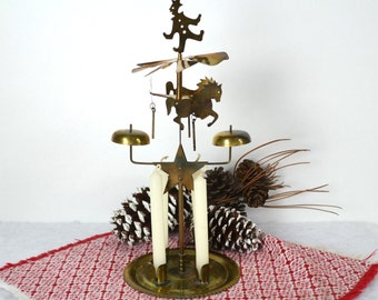 Vintage Brass Circus Chimes, Klockspiel, Center Star plus 3 Horses & Clown, Includes Box of 12 White Candles, Made in Japan
