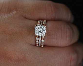 Cushion 8mm Moissanite Engagement Ring in 14k Rose Gold with Diamond Half Eternity Band and Moissanite