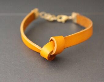 Leather Bracelet - Knot Bracelet - Mustard