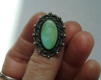 vintage turquoise and sterling ring, size 5