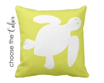 Sea Turtle Pillow, Nautical Pillows, Beach Nursery, Sea Turtle Nursery Decor, Under The Sea, Coastal Pillow Cover, Ocean Themed Decor