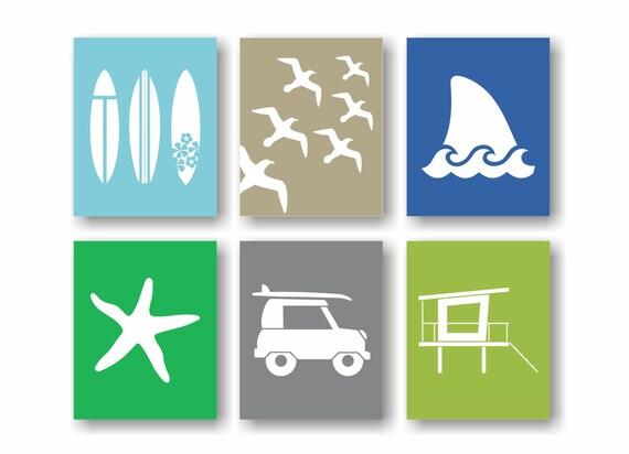 Beach theme decor surf wall art surfboard art by twowhiteowls for Surf nursery ideas