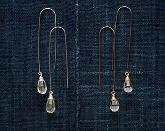 White Topaz Drop Earrings, Semi Precious Gemstone Jewelry, 14K Gold Filled / Argentium Sterling Silver