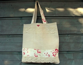 Laundry bag handmade antique linen with antique cotton rose fabric and antique lace and embroidered little red heart